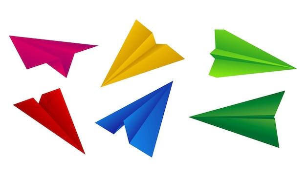 Realistisch papieren vliegtuig geïsoleerd origami handgeschept papier vliegtuig kleur vol origami vliegtuig