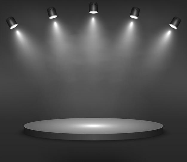 Realistisch platform, podium of voetstuk op zwarte achtergrond