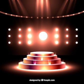 Realistisch podium met elegante bliksem