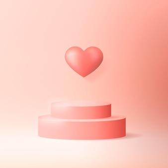 Realistisch podium met hart