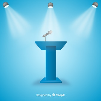 Realistisch podium voor conferentie blauwe achtergrond