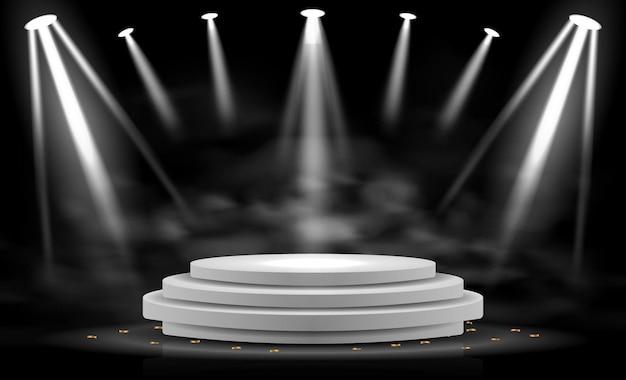 Realistisch podiumpodium met elegante verlichtingsspot