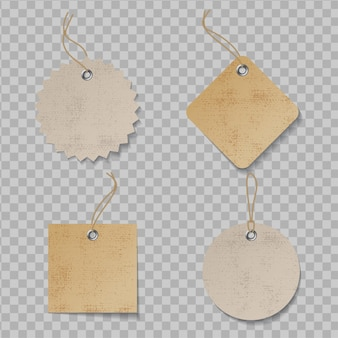 Realistisch prijskaartje dat met textuur wordt geplaatst. ambachtelijke organische papieren etiketten
