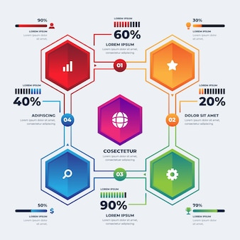 Realistisch proces infographic sjabloon