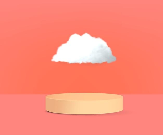 Realistisch productpodium met wolk vector
