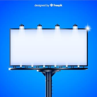 Realistisch reclamebord met lichten buitenshuis