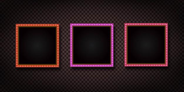 Realistisch retro selectiekaderbord met elektrische lichtlampen