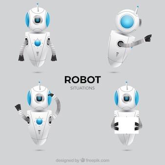 Realistisch robotkarakter met verschillende stelt inzameling