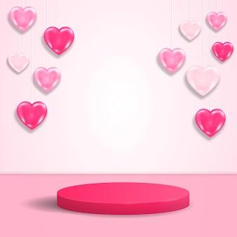 Realistisch rond luxe vertoningspodium. roze scène met roze harten.