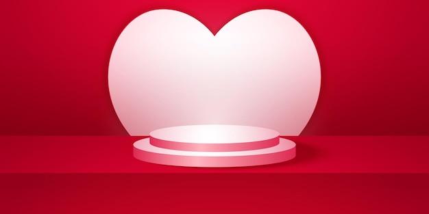 Realistisch rond podium met rode lege studioruimte met hartvormachtergrondmodel voor weergave