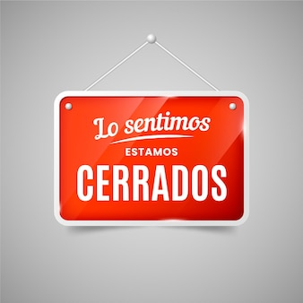 Realistisch rood cerrado-uithangbord