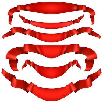 Realistisch rood decoratief lint.
