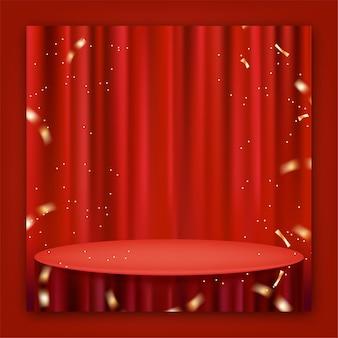 Realistisch rood gordijn en tafelkleed voor postpromotie op sociale media