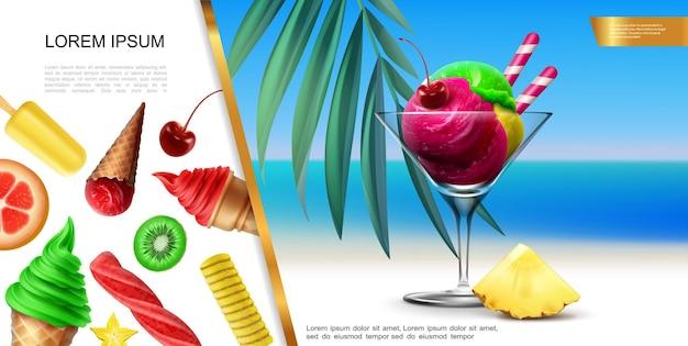 Realistisch roomijsconcept met kleurrijke bollen in glas op overzees landschap en fruitroomijs met illustratie van kersenkiwi, ananas kumquat smaken