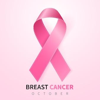 Realistisch roze lintsymbool dat op roze wordt geïsoleerd
