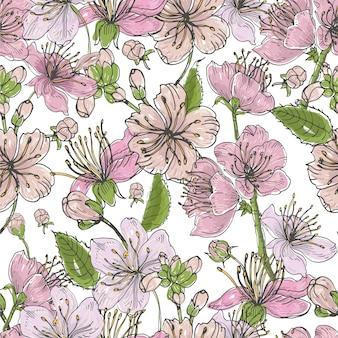 Realistisch sakura hand getekend patroon met toppen, bloemen, bladeren.