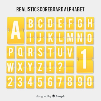 Realistisch scorebordenalfabet