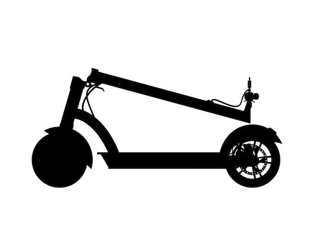 Realistisch silhouet van elektrische scooter.vector realistisch icoon van gevouwen elektrische scooter