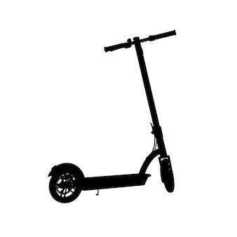 Realistisch silhouet van elektrische scooter. zwart pictogram op een witte achtergrond. vector afbeelding. perspectief
