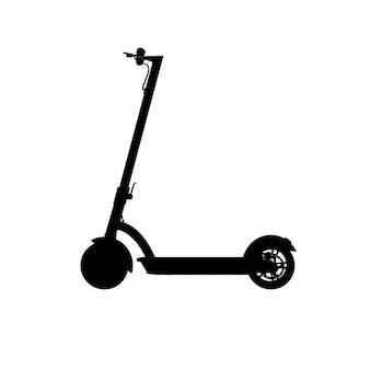 Realistisch silhouet van elektrische scooter. zwart pictogram op een witte achtergrond. vector afbeelding. zijaanzicht.
