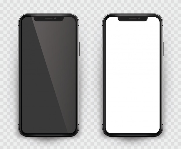 Realistisch smartphone zwart ontwerp met leeg scherm. geïsoleerde smartphone met leeg scherm om uw app, ontwerp ... te presenteren