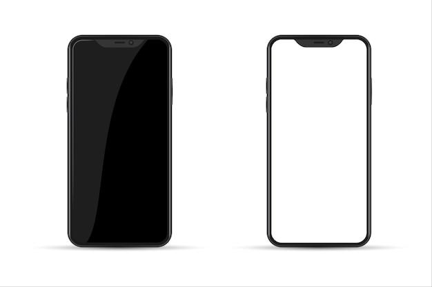 Realistisch smartphonemodel. telefoon leeg, wit.