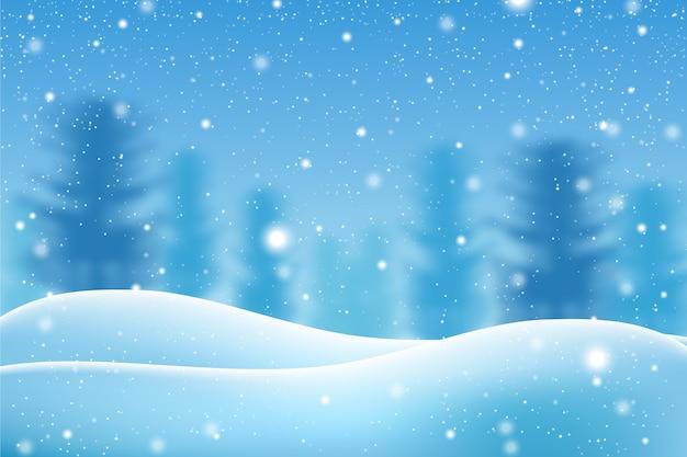 Realistisch sneeuwval behang concept