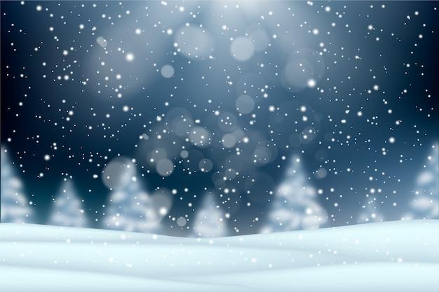 Realistisch sneeuwvalconcept als achtergrond