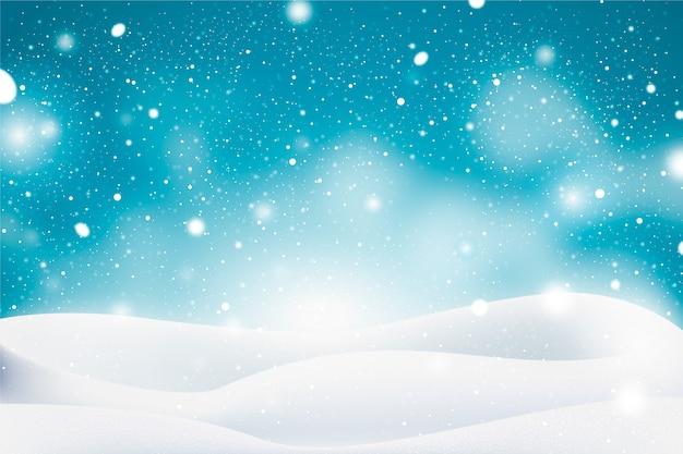 Realistisch sneeuwvalontwerp als achtergrond