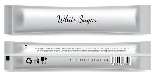 Realistisch stok mat zakje pakket geïsoleerd sjabloon suiker stok product blanco verpakking mock up