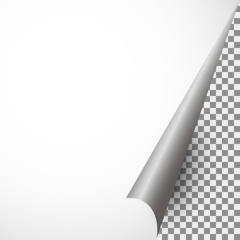 Realistisch stuk papier met een gebogen hoek op een transparante b