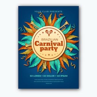 Realistisch thema voor braziliaanse carnaval flyersjabloon