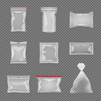 Realistisch transparant pakket dat in verschillende geïsoleerde vorm wordt geplaatst