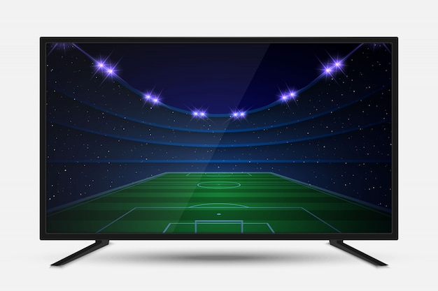 Realistisch tv-scherm. modern televisie lcd paneel met voetbalgelijke