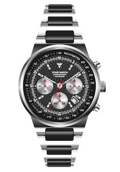 Realistisch uurwerk chronograaf roestvrij staal.