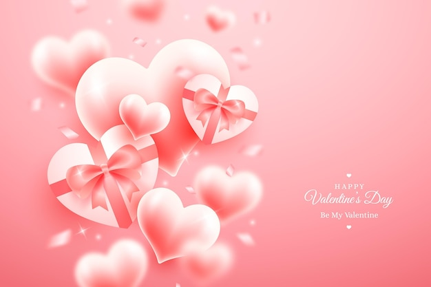 Realistisch valentijnsdagbehang met hartjes