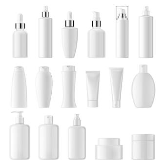 Realistisch van cosmetische witte schone flessen