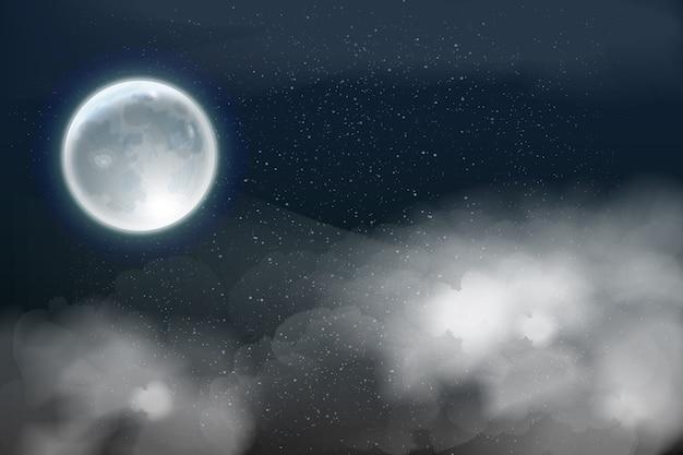 Realistisch van de volle maanhemel concept als achtergrond