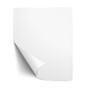 Realistisch vel papier met gevouwen hoek
