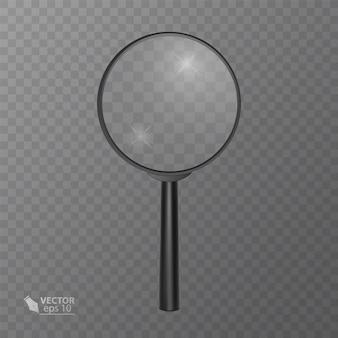 Realistisch vergrootglas in zwart op transparant.