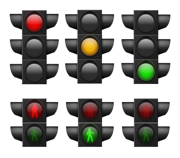 Realistisch verkeerslicht. led lichten rood, geel en groen, zebrapad en verkeersveiligheid, controle ongevallen, signalen straat regelgeving systeem vector set geïsoleerd op witte achtergrond