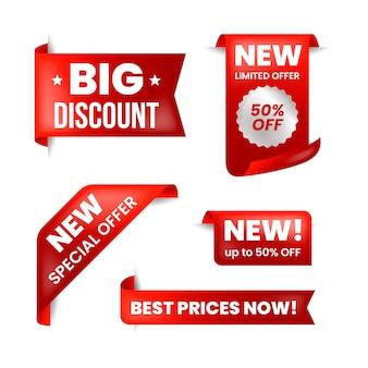 Realistisch verkooplabel in rode en witte collectie