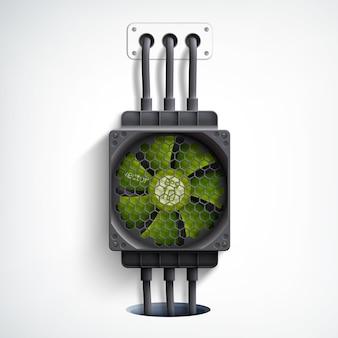 Realistisch verticaal ontwerpconcept met computerkoeler en groene ventilator op wit