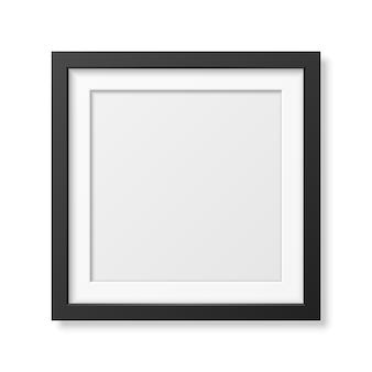 Realistisch vierkant zwart frame dat op wit wordt geïsoleerd.