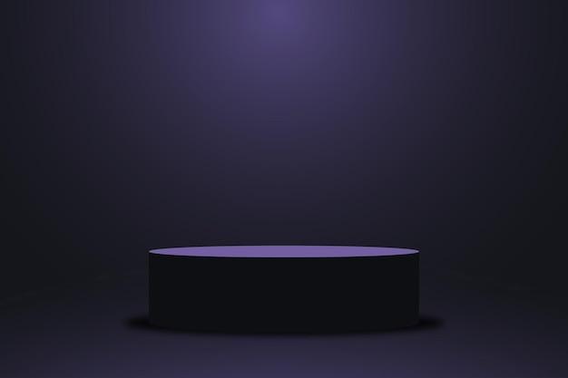 Realistisch violet platform donkerpaars podium met leeg voetstuk 3d rond podium