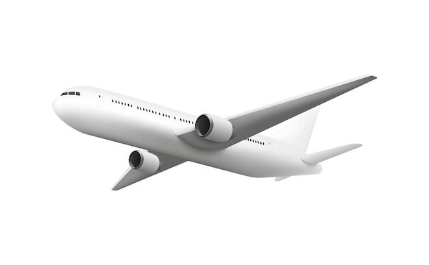 Realistisch vliegtuig vliegen geïsoleerd op wit
