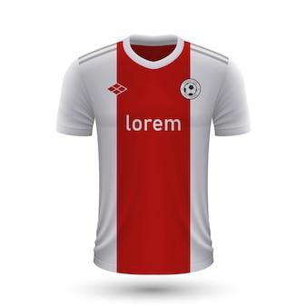 Realistisch voetbalshirt ajax amsterdam 2022, jersey sjabloon voor