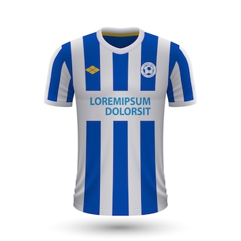 Realistisch voetbalshirt brighton 2022, jersey sjabloon voor footba