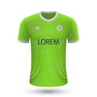 Realistisch voetbalshirt wolfsburg 2022, jersey sjabloon voor footb