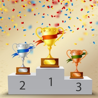 Realistisch voetstuk met trofeeën, metalen bekers met samenstelling van kleurenlinten met confetti